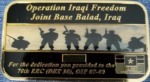 70th Regional Readiness Command Det 30 3rd Sustainment Bde Expeditionary Joint Base Balad Iraq OIF 07-09 back