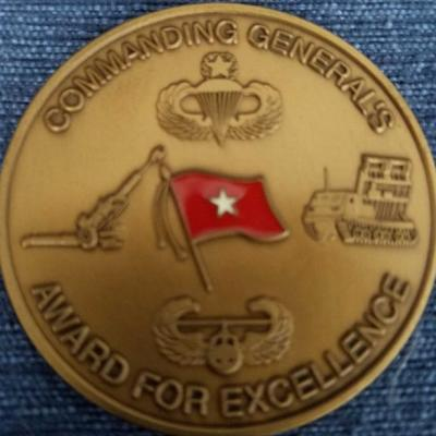 18th Airborne Corps Artillery CG Dragons Fire Challenge Coin back