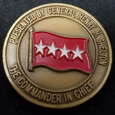 Commander In Chief US Special Operations Command CINCUSSCOM CG General Henry Shelton Round Challenge Coin back