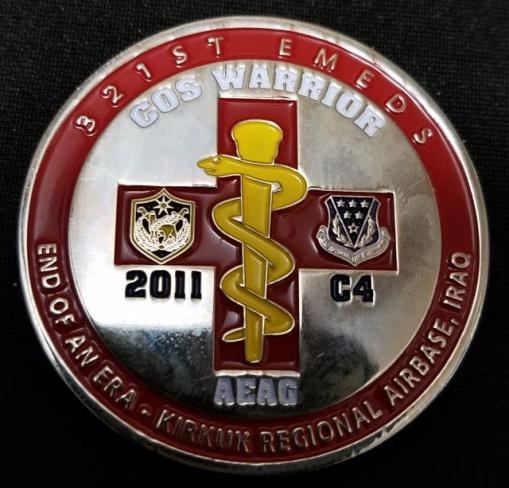 USAF 321st EMDS Kirkuk Air Base Operation New Dawn OND Combat Medic Deployment Challenge Coin By Phoenix Challenge Coins