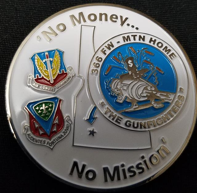 366th Comptroller Squadron, Mountain Home AFB, ID. Custom Commanders coin by Phoenix Challenge Coins back