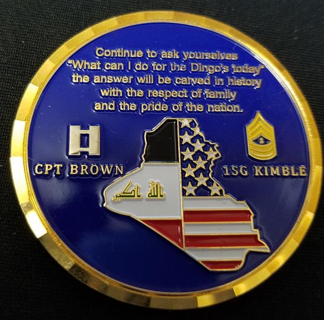 36th ID Dingos OIF Deployment Company Commanders Coin by Phoenix Challenge Coins back
