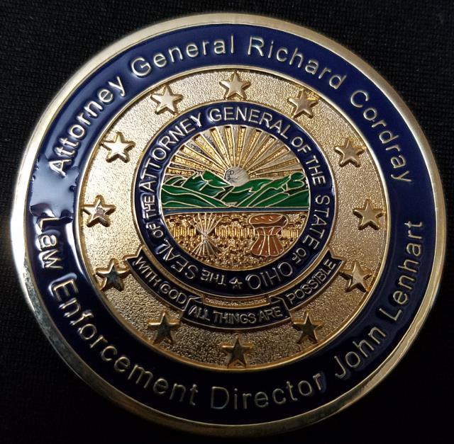 Ohio Attorney Generals Office Bureau of Criminal Investigation Richard Corday Director of Law Enforcement John Lennert Challenge Coin by Phoenix Challenge Coins
