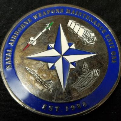 Naval Airborne Weapons Maintenance Unit One Guam custom coin by Phoenix Challenge Coins