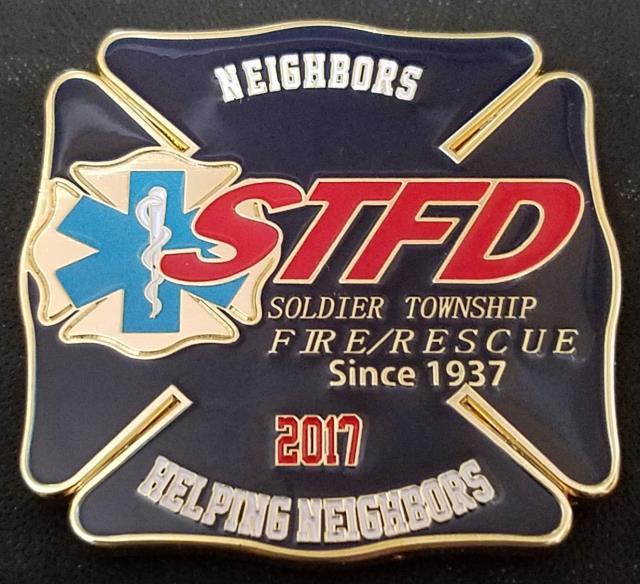Soldier Township KS Fire Department 2017 Fire Fighter Challenge Coin by Phoenix Challenge Coins