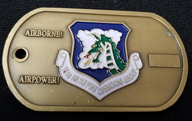 USAF 18th Air Support Operations Group Dog tag shaped challenge coin -  Phoenix Challenge Coins