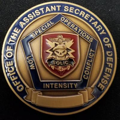 Rare US Department of Defense ASECDEF SOLIC Office of the Assistant Secretary of Defense for Special Operations Low Intensity Conflict challenge coin back