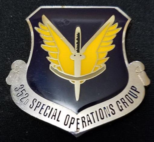 Rare 352d Special Operations Group Commander Unit Crest Shaped Coin Number #16 Challenge Coin