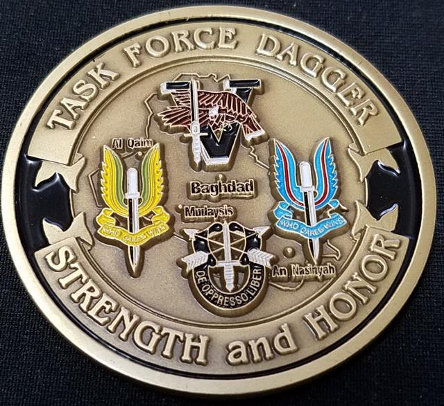 Task Force Dagger CJSOTF-W Combined Joint Special Operations Task Force-West OIF deployment challenge coin V1 back
