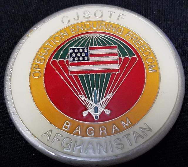 Combined Joint Special Operations Task Force-Afghanistan CJSOTF-A Round round V4 20th SFG (A) Commanding challenge coin