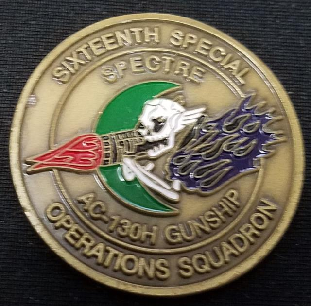 """Rare Early USAF AFSOC 16th SOS AC-130H Gunship 16th Special Operations Squadron Named Call Sign """"Rocker"""" Challenge Coin"""