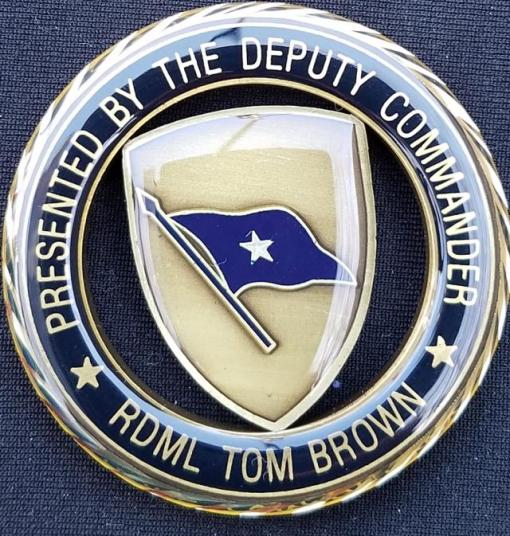 US Special Operations Command Europe Deputy Commanders DCINCSOCEUR Admiral Tom Brown round cut out Challenge Coin back