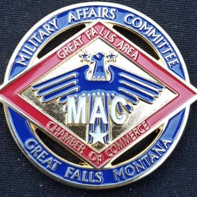 Great Falls Montana Military Affairs Committee Cut Out Challenge Coin BACK