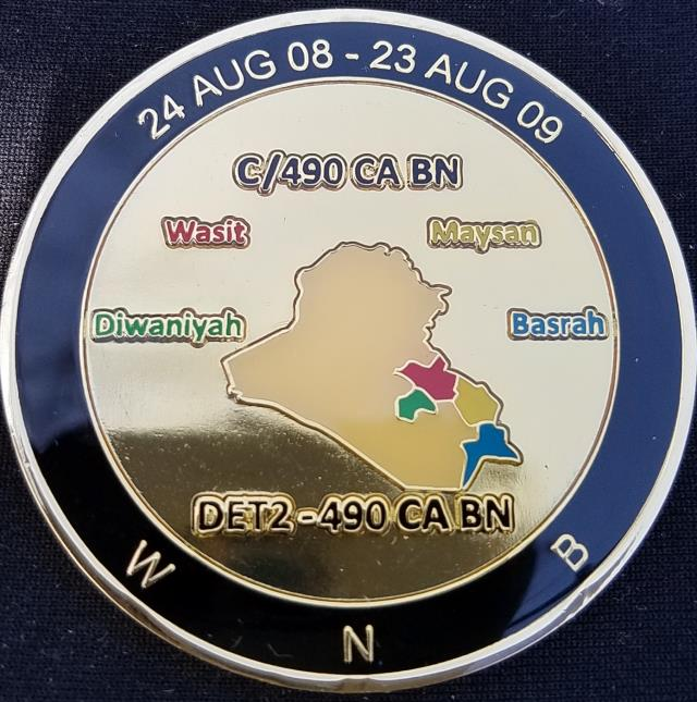 PRT MSE US Army CAPOC C/490th CA Det 2 Civil Affairs and Psyops Command C Company 490th Civil Affairs Battalion Military Support Element OIF 08 Deployment Challenge Coin By Phoenix Challenge Coins back