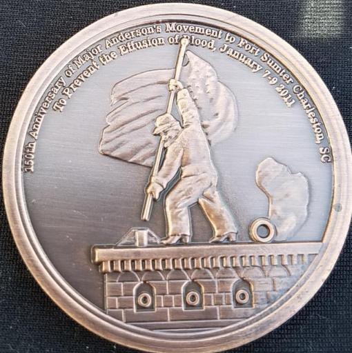 150th anniversary Major Anderson Movement to Fort Sumter South Carolina Challenge Coin by Phoenix Challenge Coins back