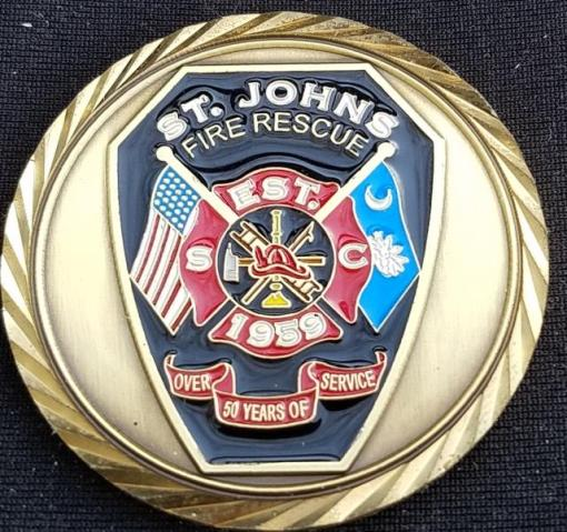 St Johns South Carolina Fire Rescue Custom Challenge Coin By Phoenix Challenge Coins