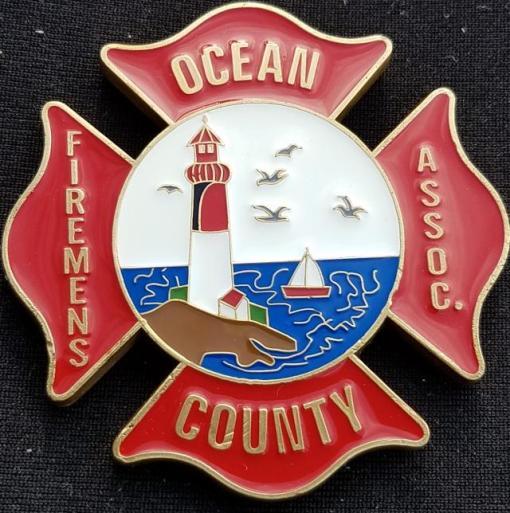 2013 Ocean County NJ Fireman's Assn shaped LODD Memorial fire coin by Phoenix Challenge Coins