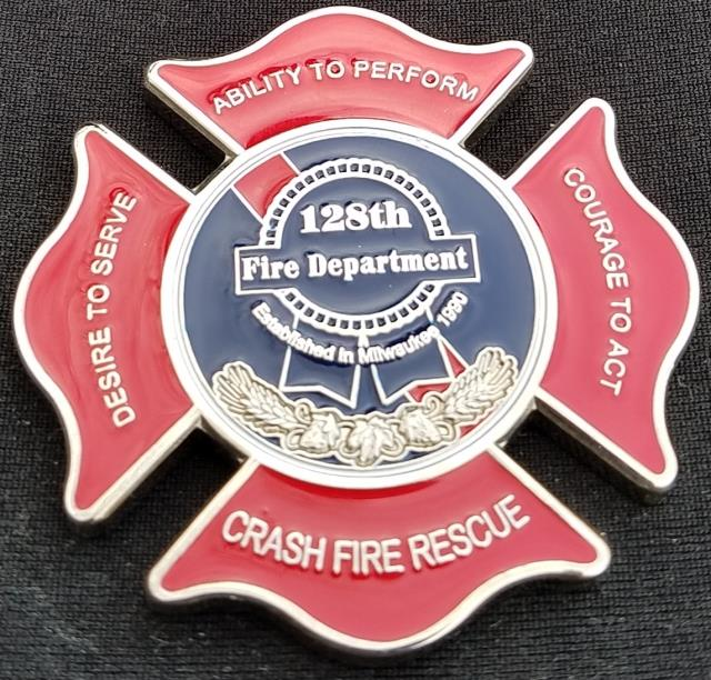 USAF128th ARW FD Refueling Wing Milwaukee WI Fire Department Challenge Coin by Phoenix Challenge Coins back