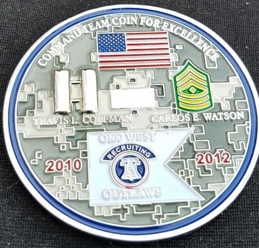 US Army Recruiting Company OKC West 2 Co Outlaws Command team Challenge Coin by Phoenix Challenge Coins back