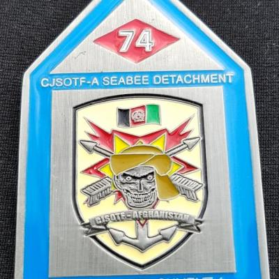 USN NMCB-74 CJSOTF-A Det US Navy Construction Battallion 74 Special Operations Task Force Detachment OEF House Shaped Coin by Phoenix Challenge Coins