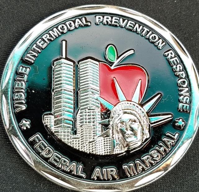 DHS FAM NYC VIPR Federal Air Marshal Visible Intermodal Prevention Response Team Challenge Coin from Phoenix Challenge Coins back