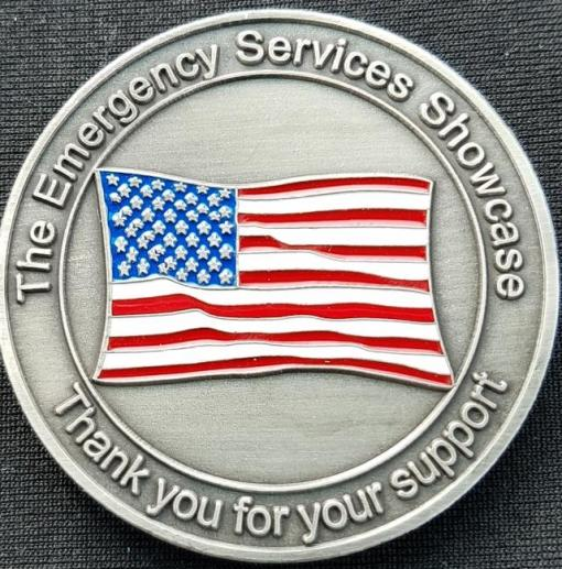 Emergency Services Showcase Emergency Vehicle and Apparatus Show Challenge Coin back
