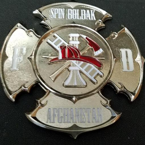 "FOB Spin Boldak FD Custom 3.25"" Maltese cross Shaped Fire Coin by Phoenix Challenge Coins"