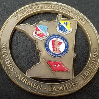 Minnesota National Guard Adjutant General Cut out custom coin back