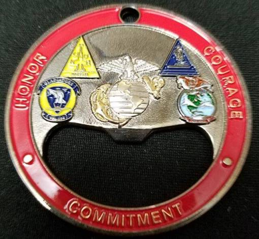 NAS Oceana USMC Bottle Opener tri-plated coin by Phoenix Challenge Coins