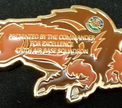 USAF 470th Air Base Squadron Commander's Buffalo Shaped Challenge Coin