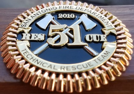 San Antonio Fire Rescue 51 tri-plated and Featuring Phoenix Challenge Coins®Armor Shield™ Finish