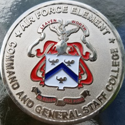 US Command and General Staff College Ft Leavenworth Air Force Element Challenge Coin back