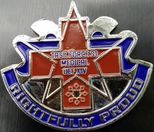 Task Force 31 Medical OEF 14 Command Team Phantom Medics DUI Shaped Challenge Coin