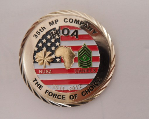 35th MP Co Command Team Coin OEF-TS HOA Deployment Challenge Coin back