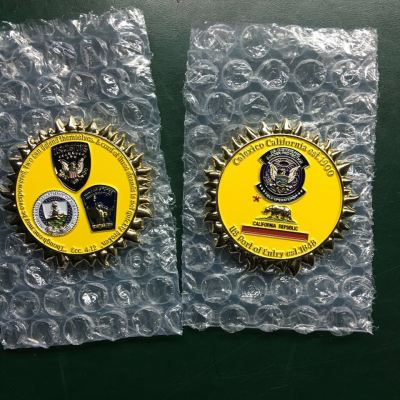 USCBP US Customs and Border Patrol Station Calexico, CA Sunshine Shaped Coin featuring Phoenix Challenge Coins® Armor Shield™