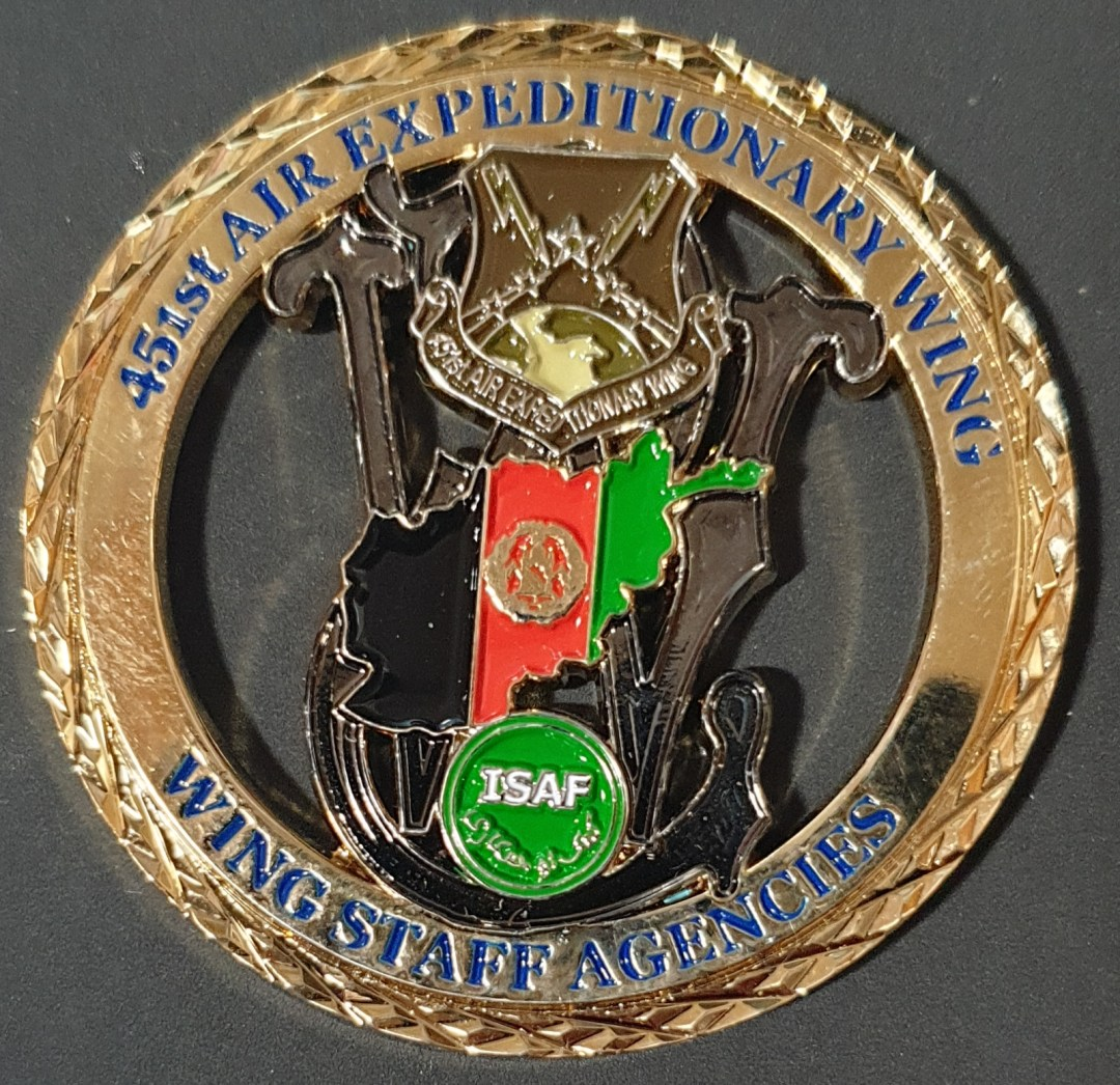 USAF 451st AIR EXPEDITIONARY WING Staff OEF Deployment Cutout Challenge Coin back