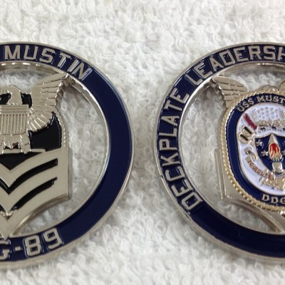 USS Mustin DDG-89 FCPOA First Chief Petty Officer Association Cutout Challenge Coin
