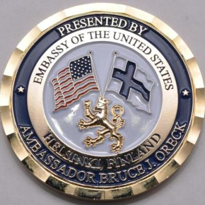 US State Department US Embassy Finland Ambassador Bruce Oreck Personal Presentation Challenge Coin in Custom Box