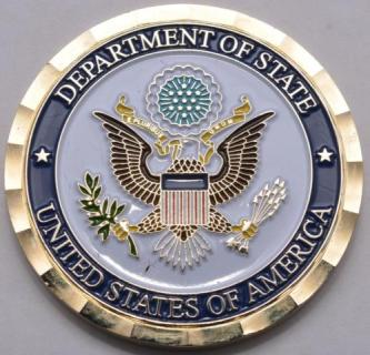 US State Department US Embassy Finland Ambassador Bruce Oreck Personal Presentation Challenge Coin in Custom Box front