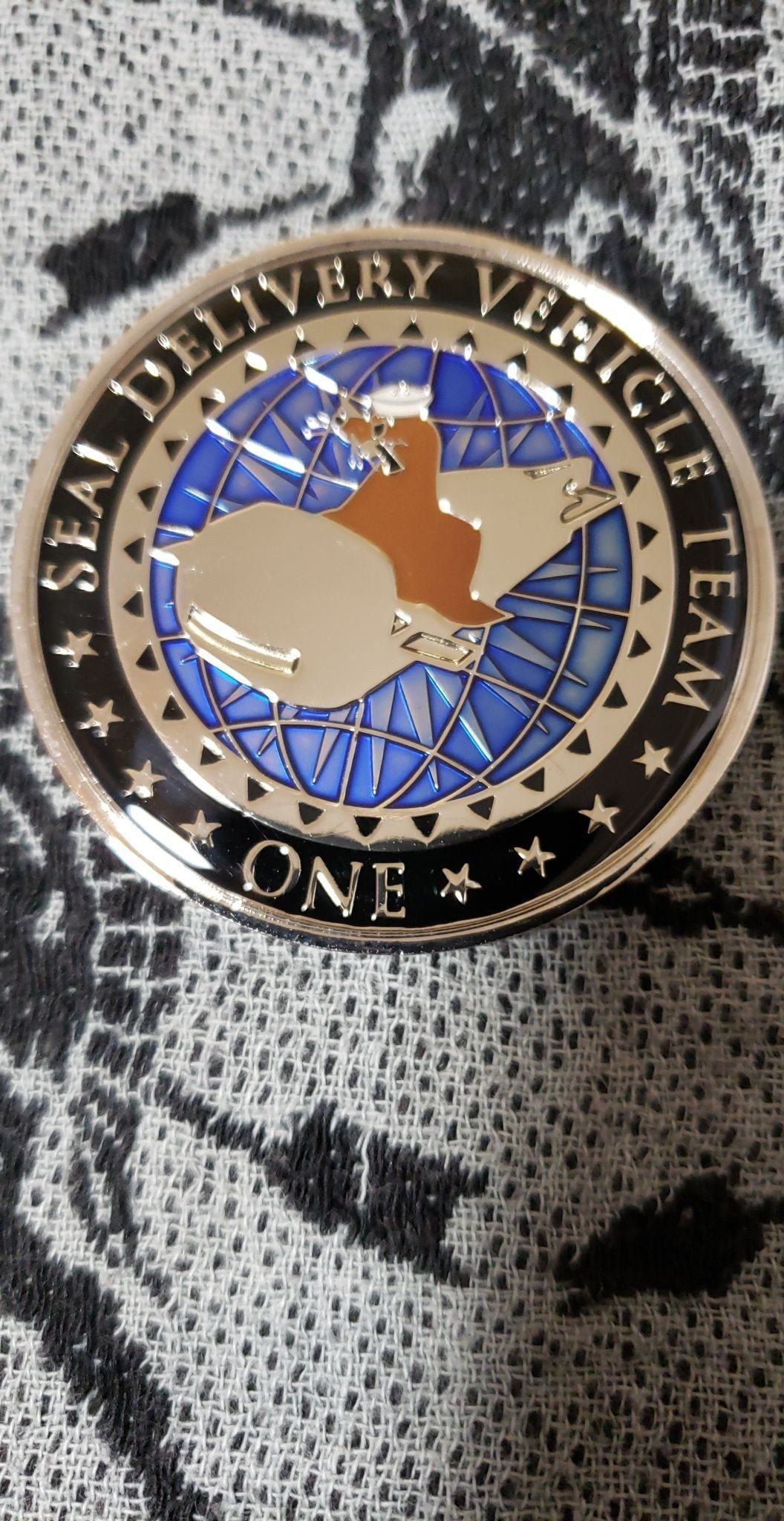 Seal Delivery Vehicle Team One SDVT-1 Task Unit Alpha Large Numbered 53 Authentic Rare Seal Team Challenge Coin front