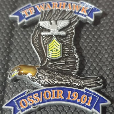 US Army TF WARHAWK OSS/OIR 2019 Deployment Command Team Coin V2 back
