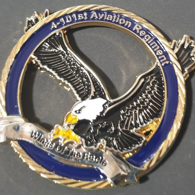 US Army 4-101st Aviation Regiment Command Team Cutout Challenge Coin made by Phoenix Challenge Coins