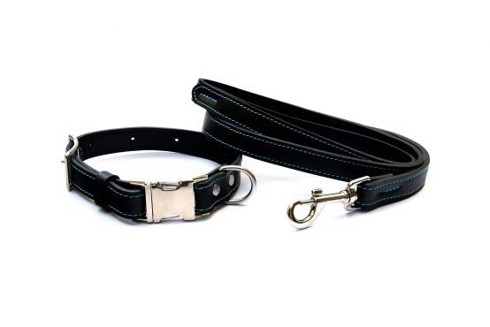 Phoenix Charm Handcrafted Premium Soft Leather Dog Collar & Lead Set - Fully Adjustable Metal Side Release Buckle - Branded Drawstring Bag & Gift Box - Durable, Comfortable & Stylish
