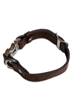 HANDCRAFTED PREMIUM SOFT LEATHER DOG COLLAR-FULLY ADJUSTABLE METAL SIDE RELEASE BUCKLE – BROWN