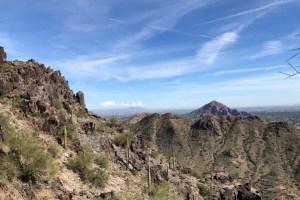 image of Camelback mountain desert scene from a hiker in Phoenix city park