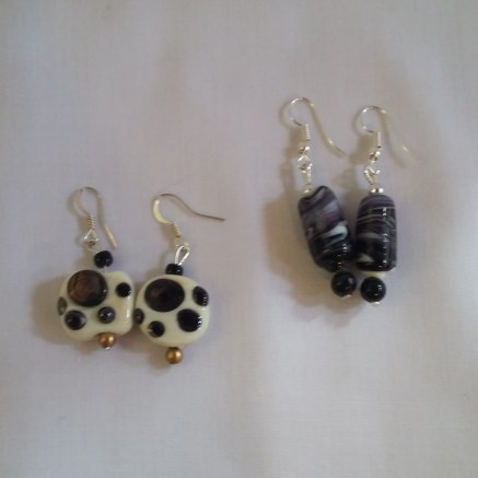 Handmade glass bead earrings by Kay Beale