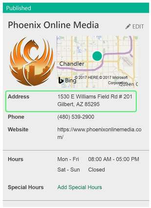 bing places screenshot showing address consistency as a positive local search engine optimization ranking factor