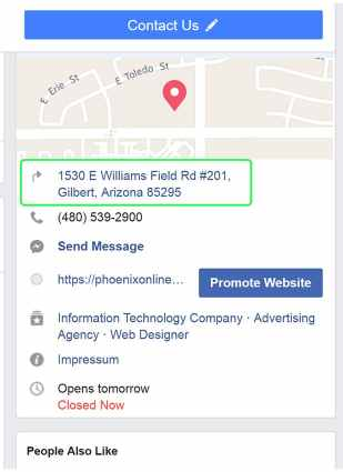 facebook about screenshot showing address consistency as a positive local search engine optimization ranking factor