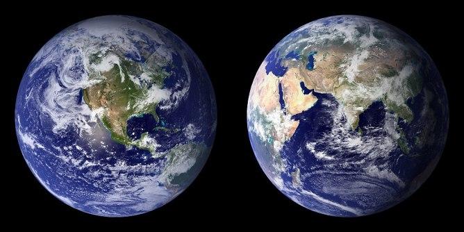 Western and eastern hemispheres of the Earth