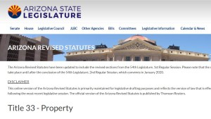 Arizona Revised Statutes for HOIAs